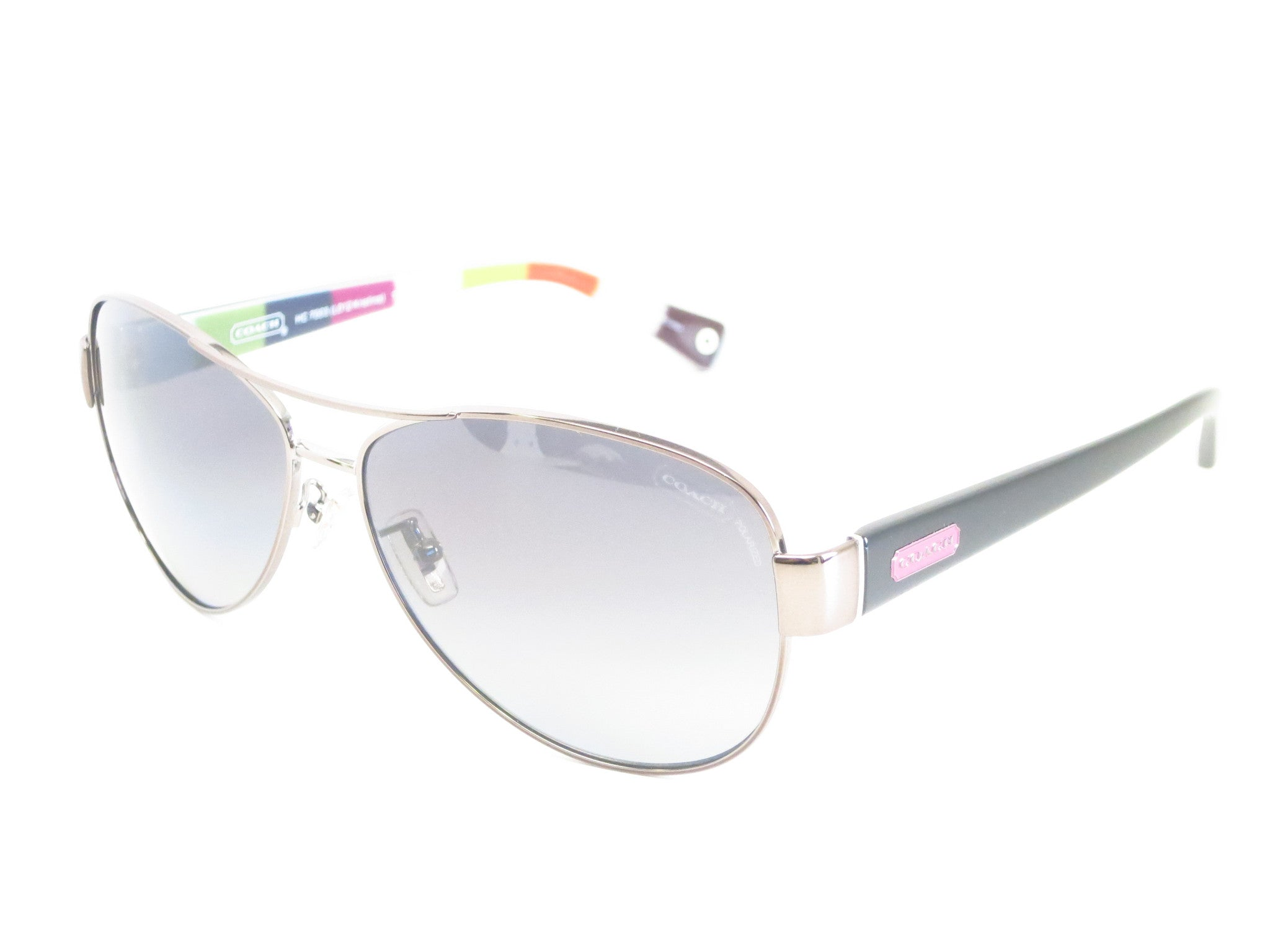 5f833529b77c2 Coach HC 7003 Kristina 9010 T3 Dark Silver   Pink Polarized Sunglasses -  Eye Heart ...