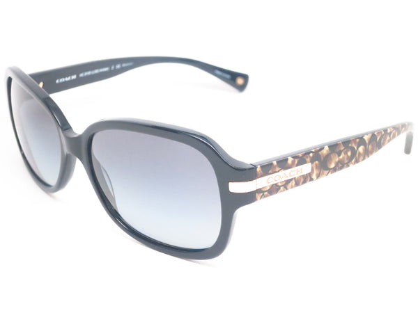 85ee8f47bd Coach HC 8105 Amber 5226 T3 Black   Beige Ocelot Signature Polarized  Sunglasses - Eye
