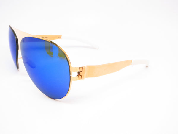Mykita Bernard Willhelm Franz F9 Gold w/Azure Flash Mirrored Sunglasses - Eye Heart Shades - Mykita - Sunglasses - 1