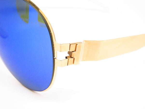 Mykita Bernard Willhelm Franz F9 Gold w/Azure Flash Mirrored Sunglasses - Eye Heart Shades - Mykita - Sunglasses - 3