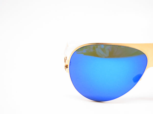 Mykita Bernard Willhelm Franz F9 Gold w/Azure Flash Mirrored Sunglasses - Eye Heart Shades - Mykita - Sunglasses - 4