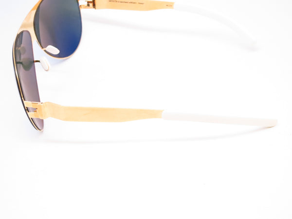 Mykita Bernard Willhelm Franz F9 Gold w/Azure Flash Mirrored Sunglasses - Eye Heart Shades - Mykita - Sunglasses - 5