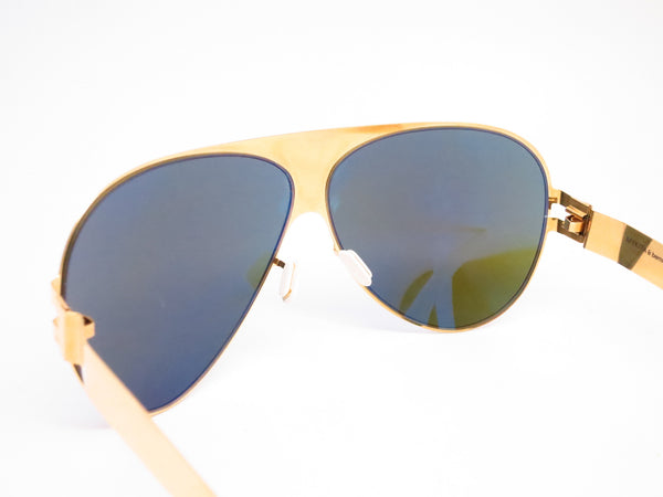Mykita Bernard Willhelm Franz F9 Gold w/Azure Flash Mirrored Sunglasses - Eye Heart Shades - Mykita - Sunglasses - 6