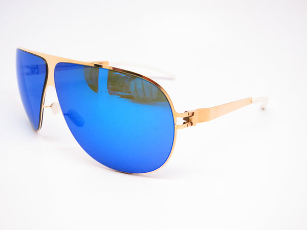 Mykita Hubert F9 Gold w/Azure Flash Sunglasses - Eye Heart Shades - Mykita - Sunglasses - 1