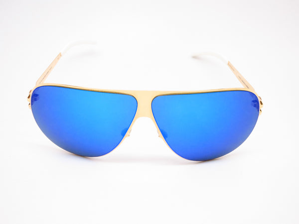 Mykita Hubert F9 Gold w/Azure Flash Sunglasses - Eye Heart Shades - Mykita - Sunglasses - 2