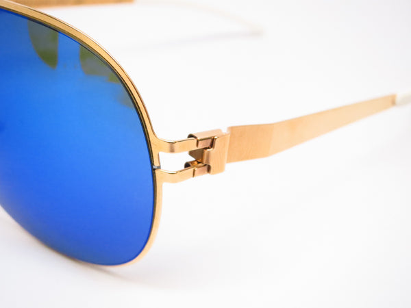 Mykita Hubert F9 Gold w/Azure Flash Sunglasses - Eye Heart Shades - Mykita - Sunglasses - 3