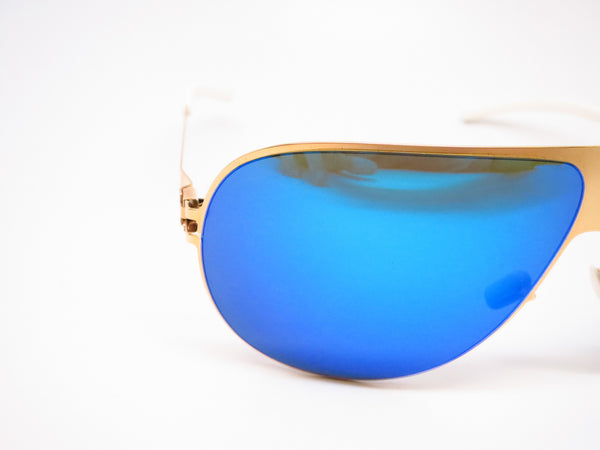 Mykita Hubert F9 Gold w/Azure Flash Sunglasses - Eye Heart Shades - Mykita - Sunglasses - 4