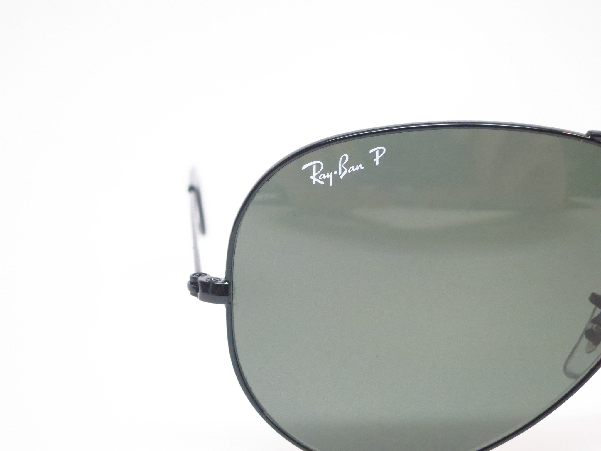 ada6b16597 ... Ray-Ban RB 3025 Aviator Large Metal 002 58 Black Polarized Sunglasses -  Eye ...