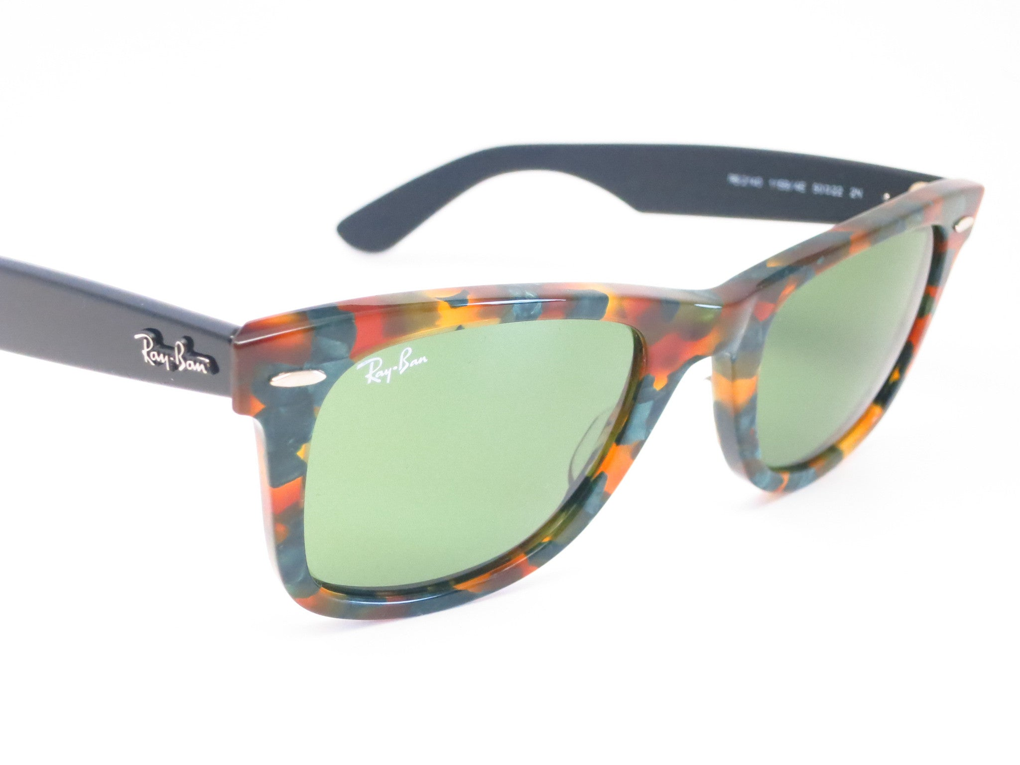 ray ban havana green eyeglasses  ray ban rb 2140 original wayfarer 1159/4e spotted green havana sunglasses eye