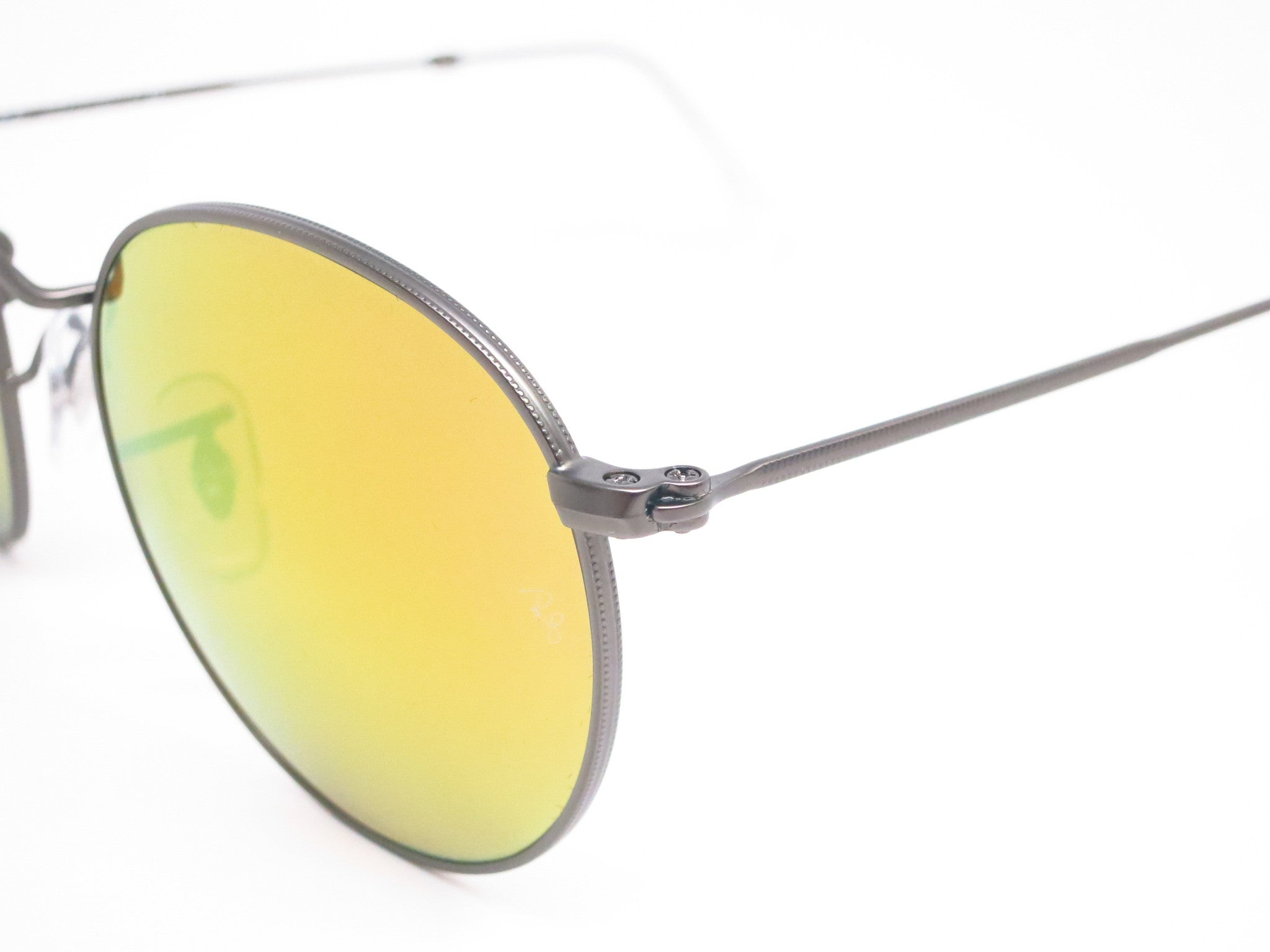 34749323f8 ... Ray-Ban RB 3447 Round Metal 029 93 Matte Gunmetal Sunglasses - Eye  Heart ...