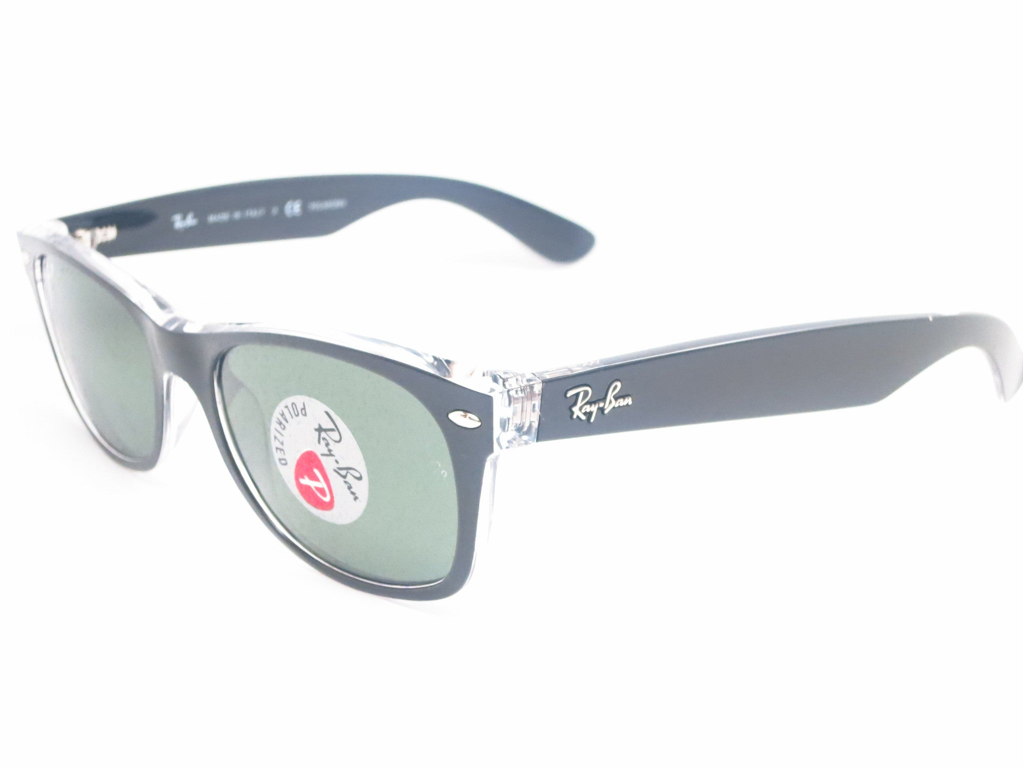 200c386b307 Ray-Ban RB 2132 New Wayfarer 6052 58 52mm Top Black on Transparent Polarized  ...