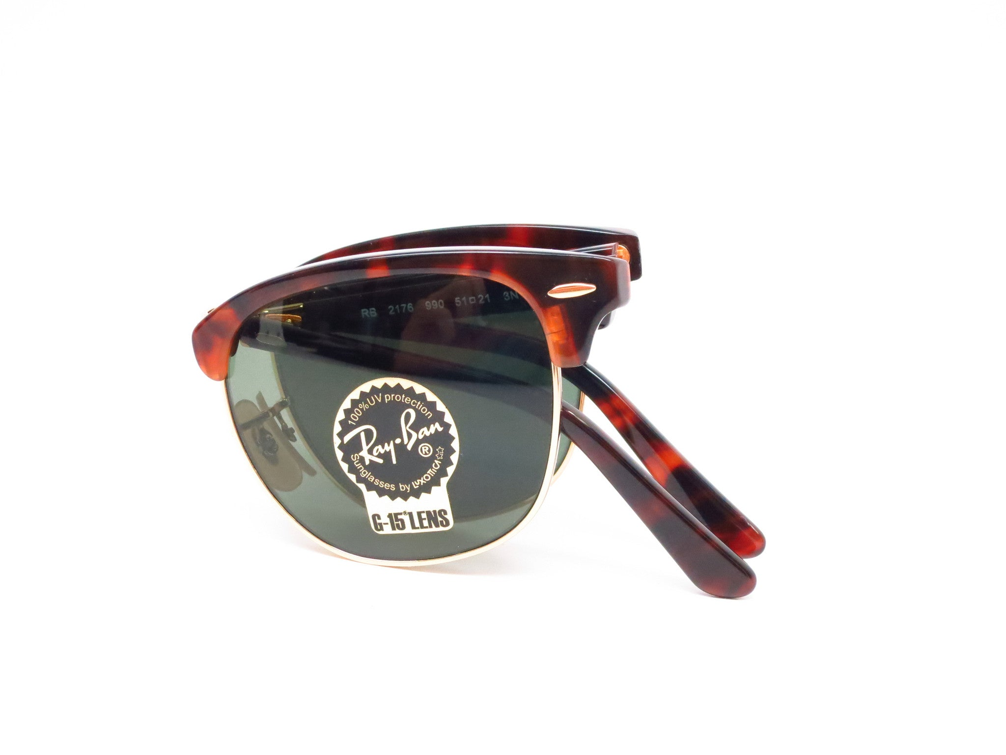 880f10dce66 ... Ray-Ban RB 2176 Clubmaster Folding 990 Red Havana Sunglasses - Eye  Heart Shades -