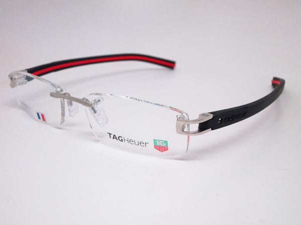 Tag Heuer TH 7642 002 Silver with Black & Red Track-S Eyeglasses - Eye Heart Shades - Tag Heuer - Eyeglasses - 1