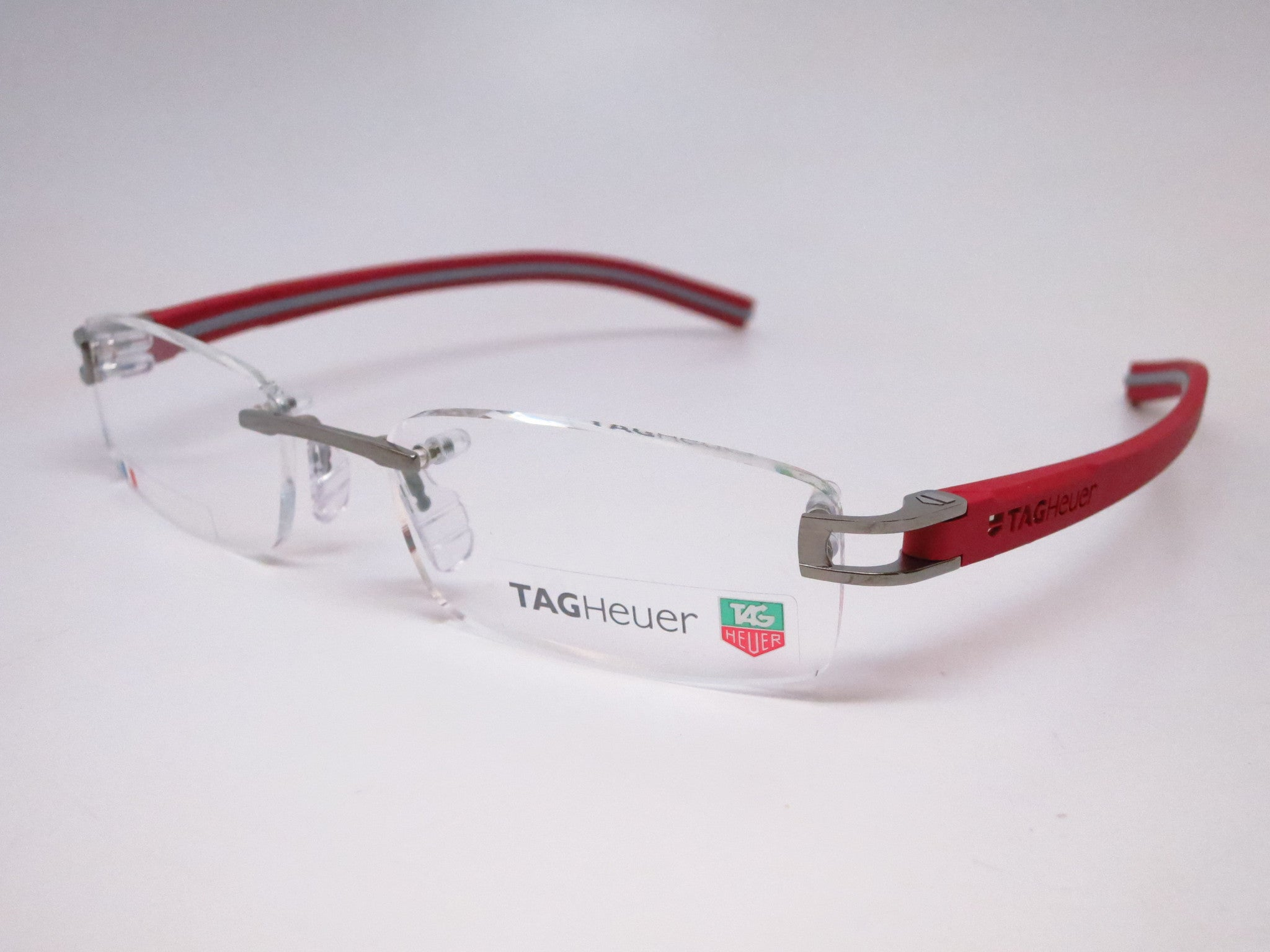 Tag Heuer TH 7642 013 Grey / Red Track-S Rimless Eyeglasses - Eye ...