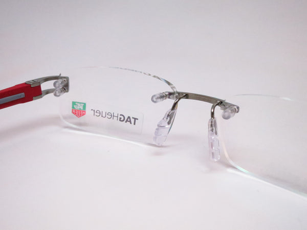 Tag Heuer TH 7642 013 Grey / Red Track-S Rimless Eyeglasses - Eye Heart Shades - Tag Heuer - Eyeglasses - 3