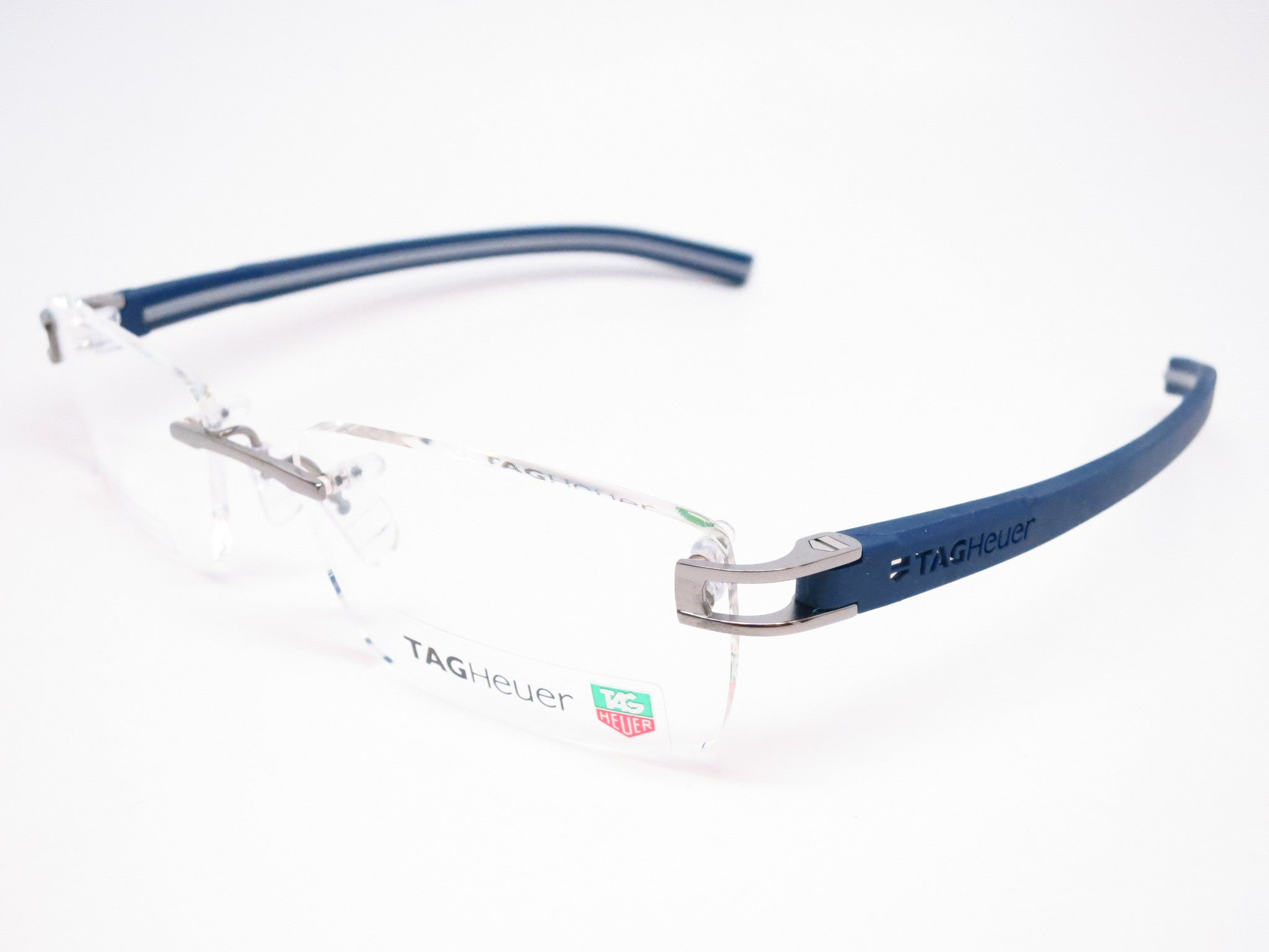 7b678a2f7c Tag Heuer TH 7643 007 Blue Grey Track-S Rimless Eyeglasses - Eye Heart  Shades ...