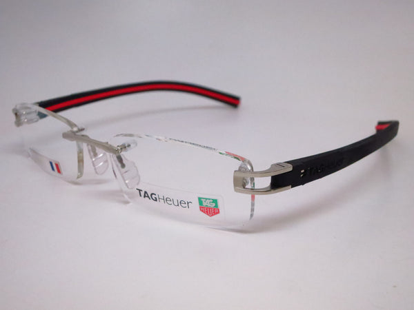 Tag Heuer TH 7645 002 Silver with Black & Red Track-S Eyeglasses - Eye Heart Shades - Tag Heuer - Eyeglasses - 1