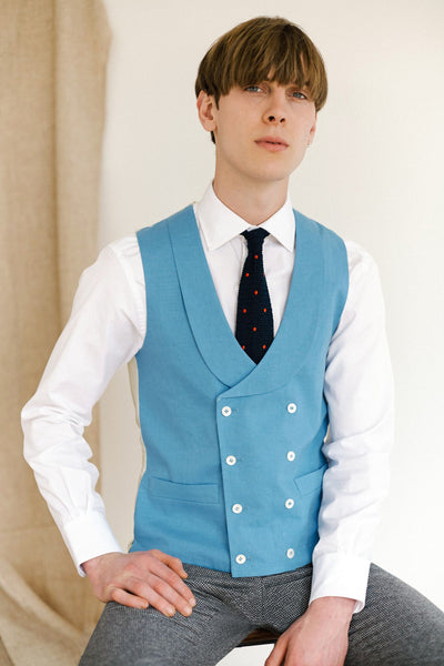 Azure Blue Double Breasted Waistcoat