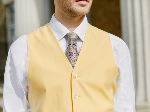 Yellow single breasted waistcoat