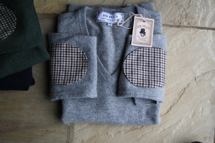 New grey and navy v-neck to our knitwear selection