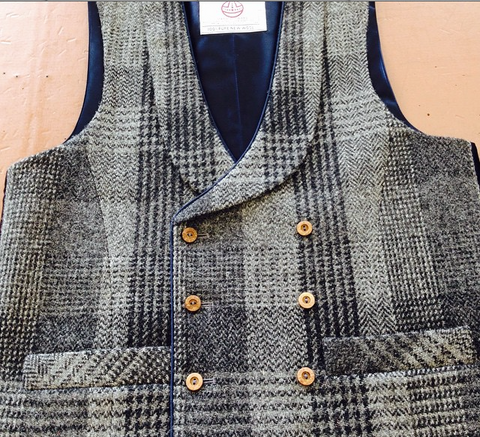 Double breasted Harris Tweed waistcoat