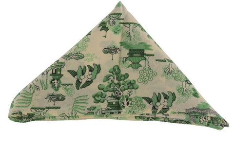 Green Silk Japanese Garden Pocket Square