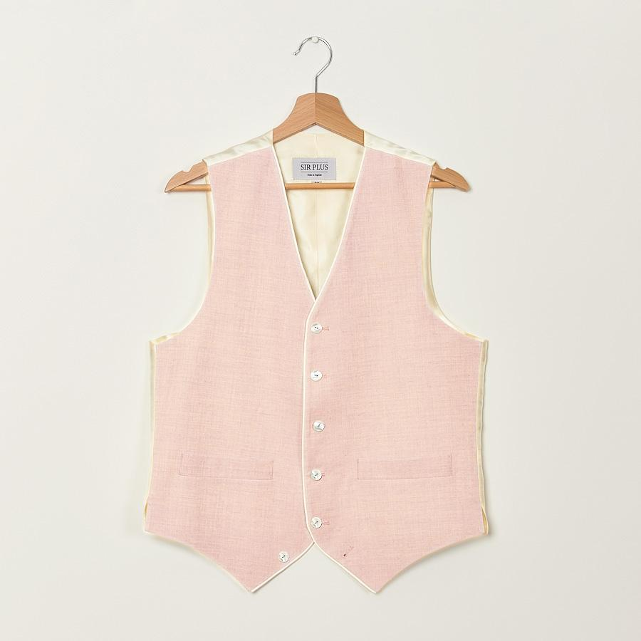 PALE PINK SINGLE BREASTED WAISTCOAT - Linen With Piping, Single Breasted Waistcoats - Sir Plus