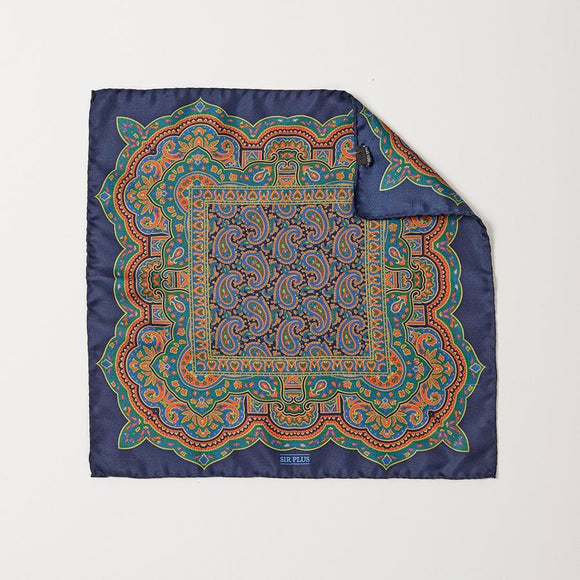 NAVY PAISLEY PRINT POCKET SQUARE - 100% Silk, Pocket Squares - Sir Plus