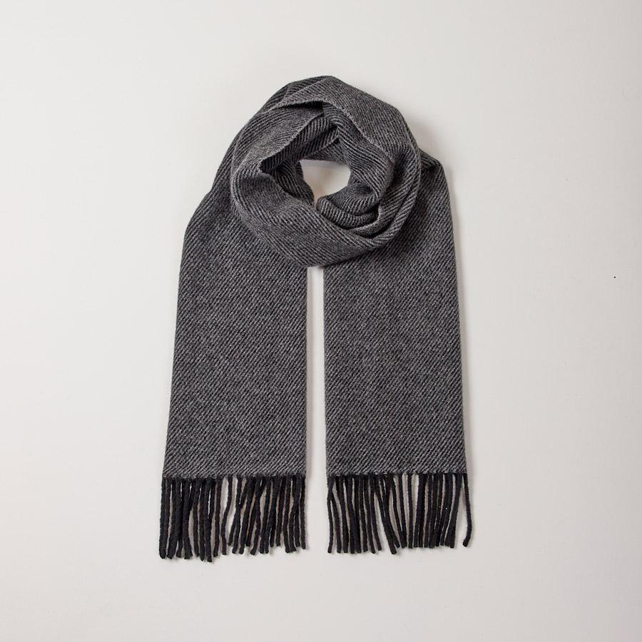 CHARCOAL TWILL SCARF - 100% Lambswool, Scarves - Sir Plus