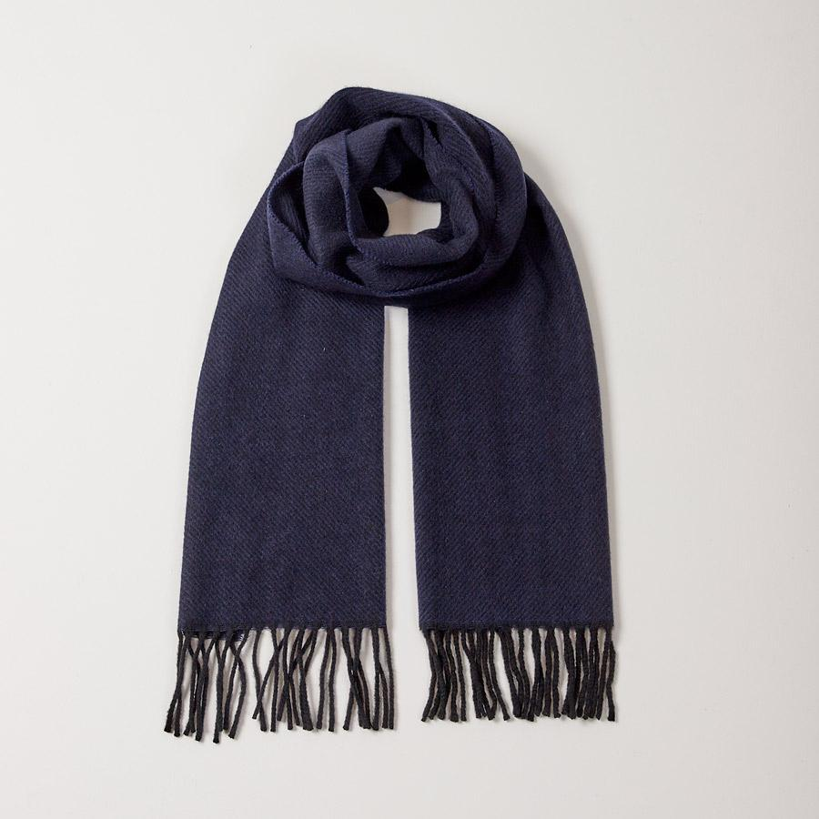 NAVY TWILL SCARF - 100% Lambswool, Scarves - Sir Plus