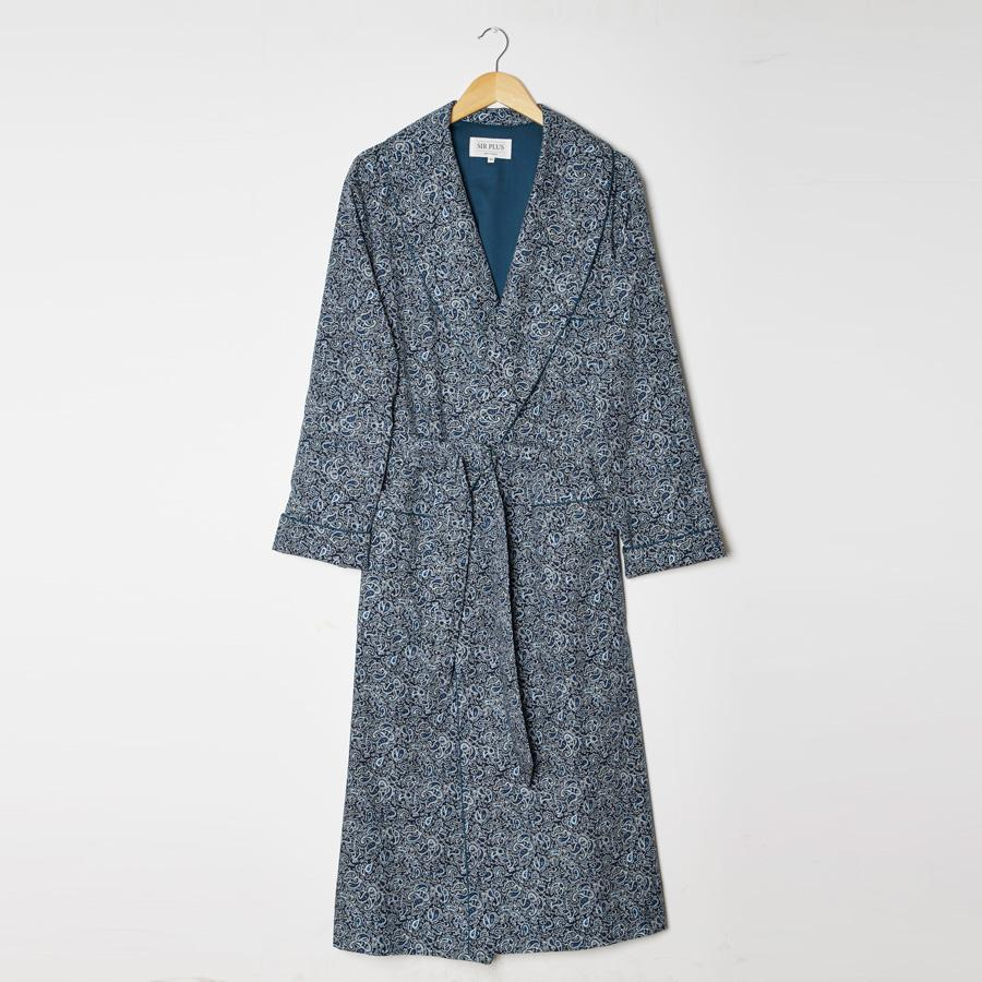 BLUE PAISLEY PRINT DRESSING GOWN - 100% Cotton, Dressing Gowns - Sir Plus