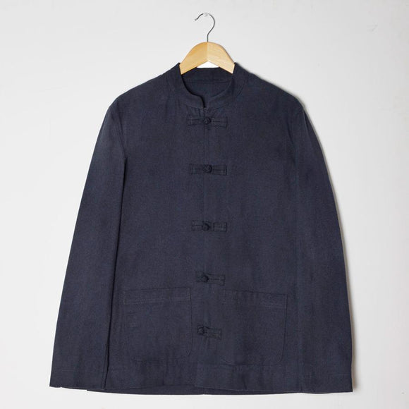 NAVY TEXTURED MANDARIN JACKET - 100% Cotton, Jackets - Sir Plus