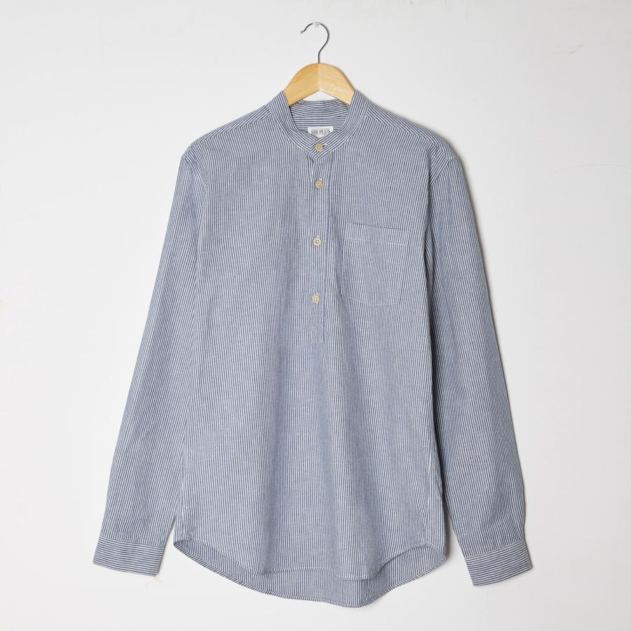 BLUE STRIPE OVERHEAD GRANDAD SHIRT - Cotton Linen Blend, Grandad Shirts - Sir Plus