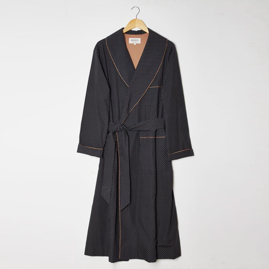 NAVY GEOMETRIC PRINT DRESSING GOWN - 100% Cotton, Dressing Gowns - Sir Plus