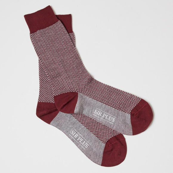RED HERRINGBONE SOCKS - Cotton Wool Blend, Socks - Sir Plus