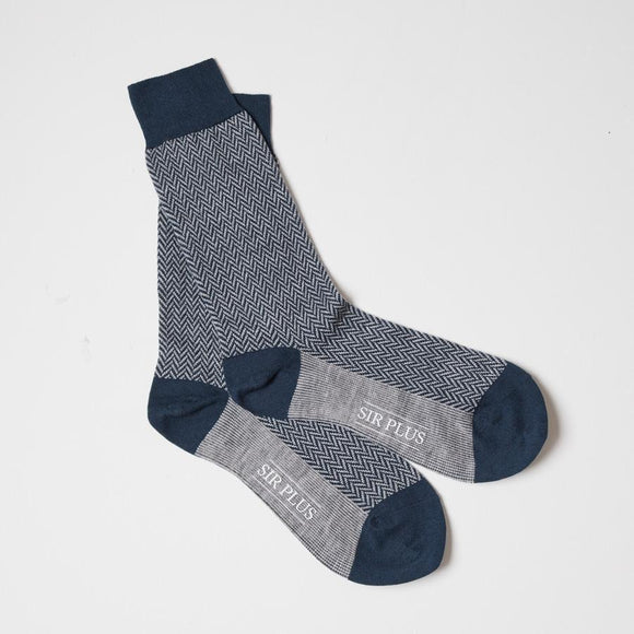 NAVY HERRINGBONE SOCKS - Cotton Wool Blend