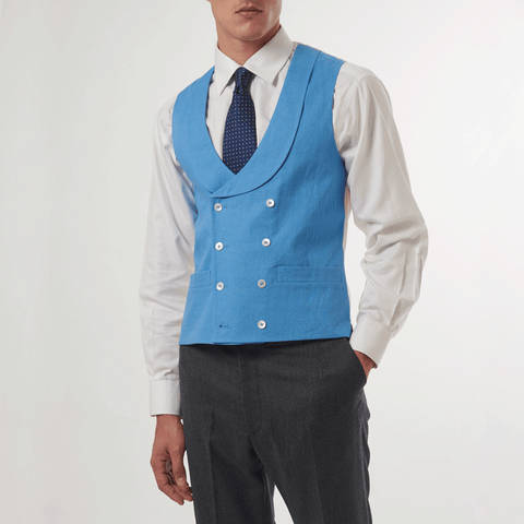 AZURE BLUE DOUBLE BREASTED WAISTCOAT - 100% Pure Linen, Double Breasted Waistcoats - Sir Plus