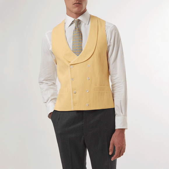 BUTTERCUP DOUBLE BREASTED WAISTCOAT - Linen With Piping, Double Breasted Waistcoats - Sir Plus