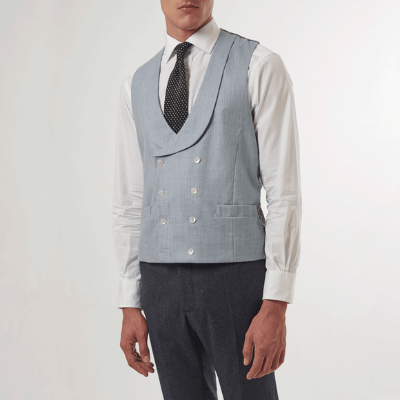 BLUE DOUBLE BREASTED WAISTCOAT - Wool, William Morris Lining, Double Breasted Waistcoats - Sir Plus