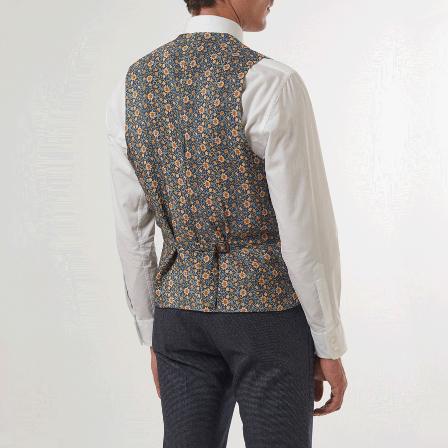 Blue Double Breasted Waistcoat - William Morris Lining, Double Breasted Waistcoats - SIRPLUS