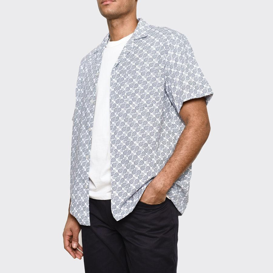White Pineapple Print Cuban Shirt, Shirts - SIRPLUS