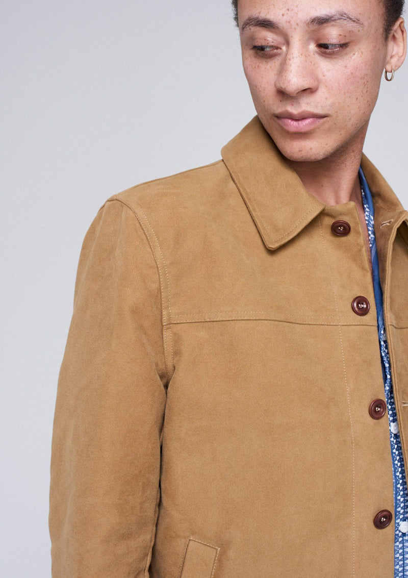 Camel Brushed Cotton Chore Jacket