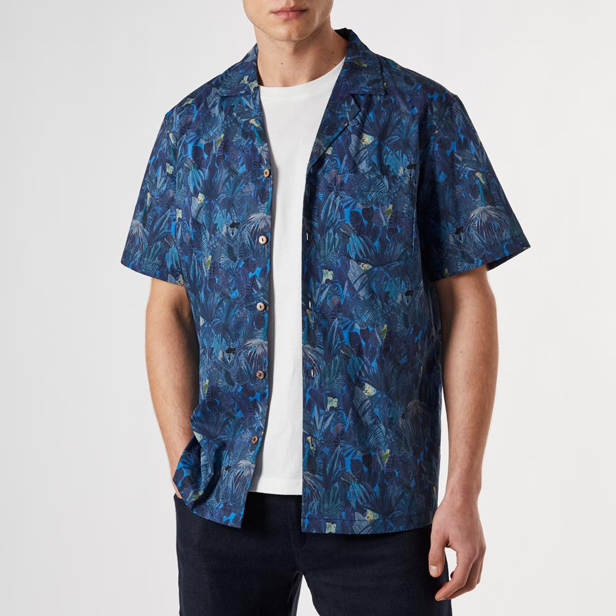 Blue Liberty Jungle Cuban Shirt, Shirts - SIRPLUS