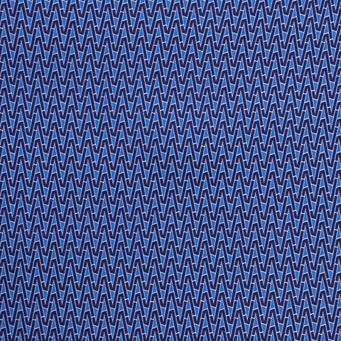 BLUE ZIG ZAG POCKET SQUARE - 100% Italian Silk