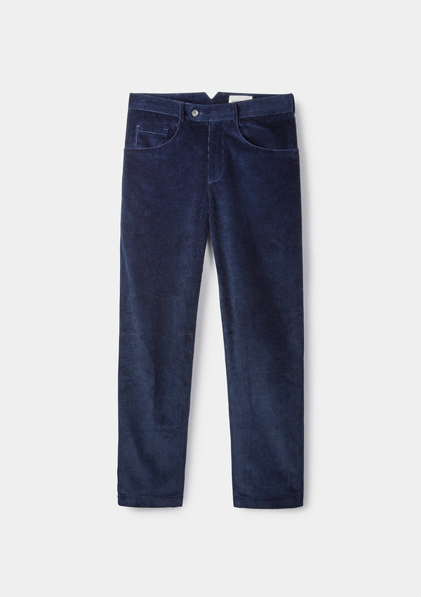 Blue Corduroy Casual Trouser