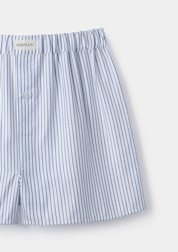Blue Stripe Cotton Boxer Shorts