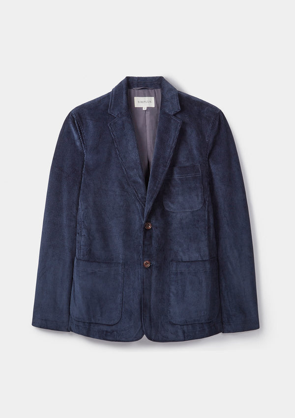 Blue Unstructured Corduroy Blazer