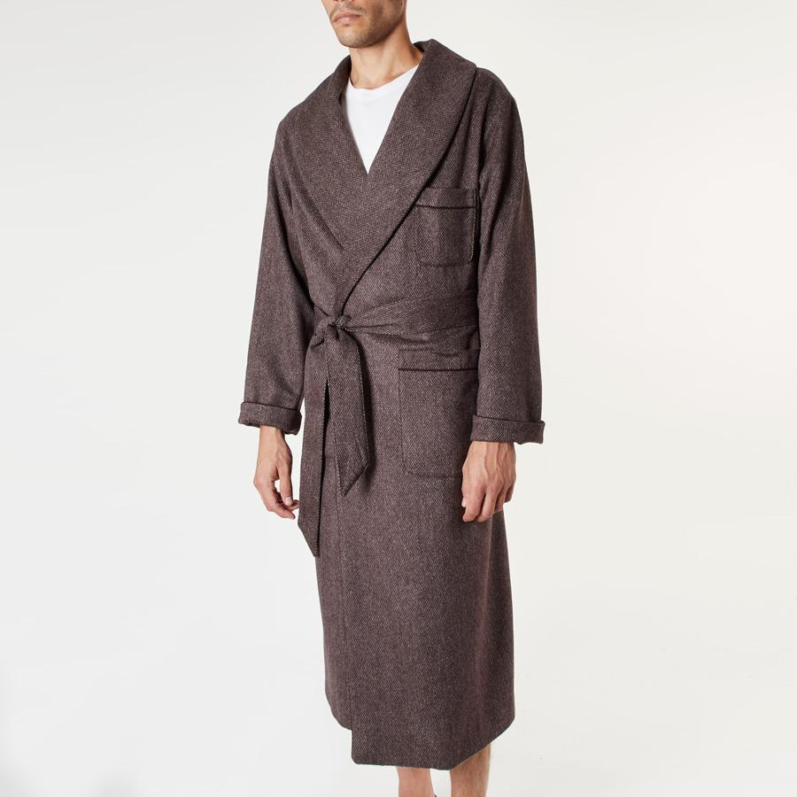 Brown Mottled Dressing Gown - Wool Blend