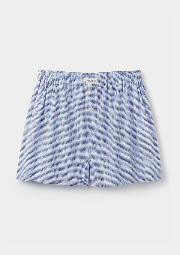 Blue House Print Cotton Boxer Shorts
