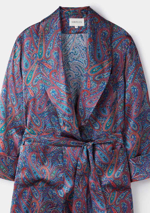 Blue Paisley Print Silk Dressing Gown - Made with Liberty Fabric